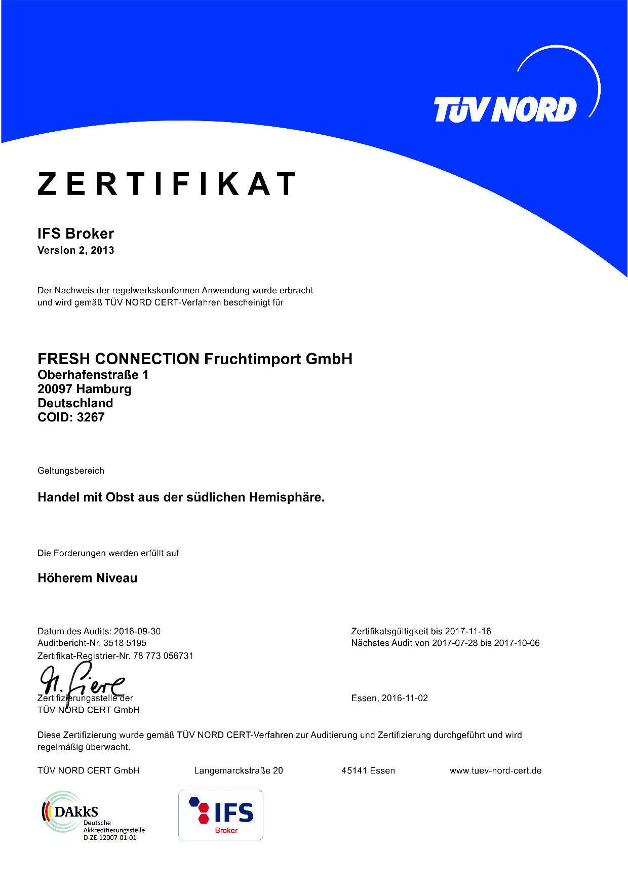 IFS Broker Zertifikat